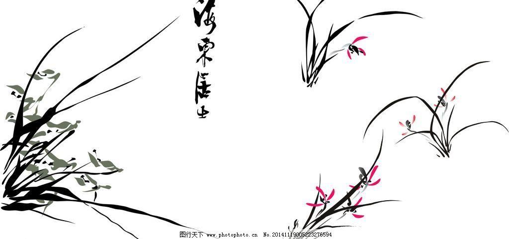 中国风 简单兰花 其他素材 底纹边框 花类 设计 cdr 兰花 花纹花边