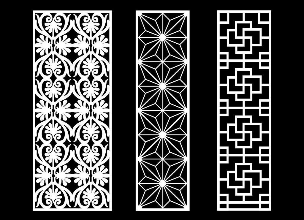 镂空矢量图案免费下载 底纹边框 镂空雕刻图案 镂空隔断图案 镂空花边