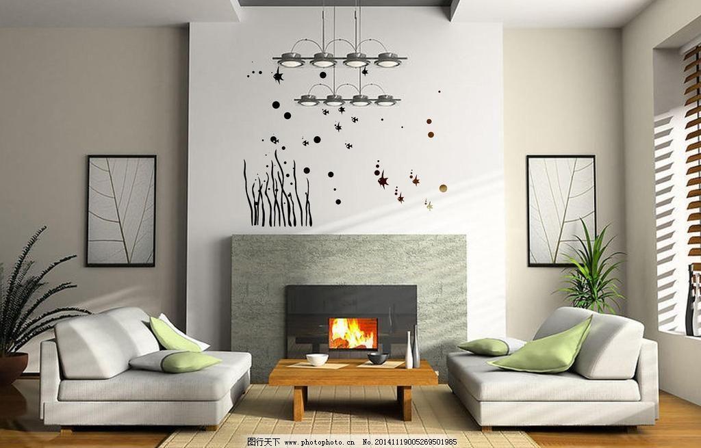 国外室内手绘黑白墙画素材