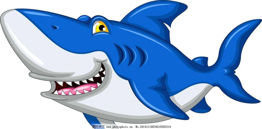 鲨鱼 海洋生物 卡通鲨鱼 手绘 矢量 鱼类 哺乳动物 生物世界
