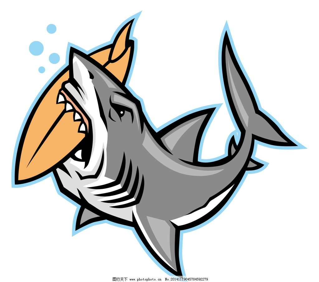 手绘卡通鲨鱼张口