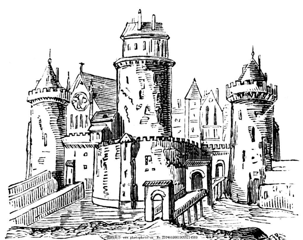 城堡 欧式建筑 建筑插画 素描 房子 设计 文化艺术 绘画书法 240dpi