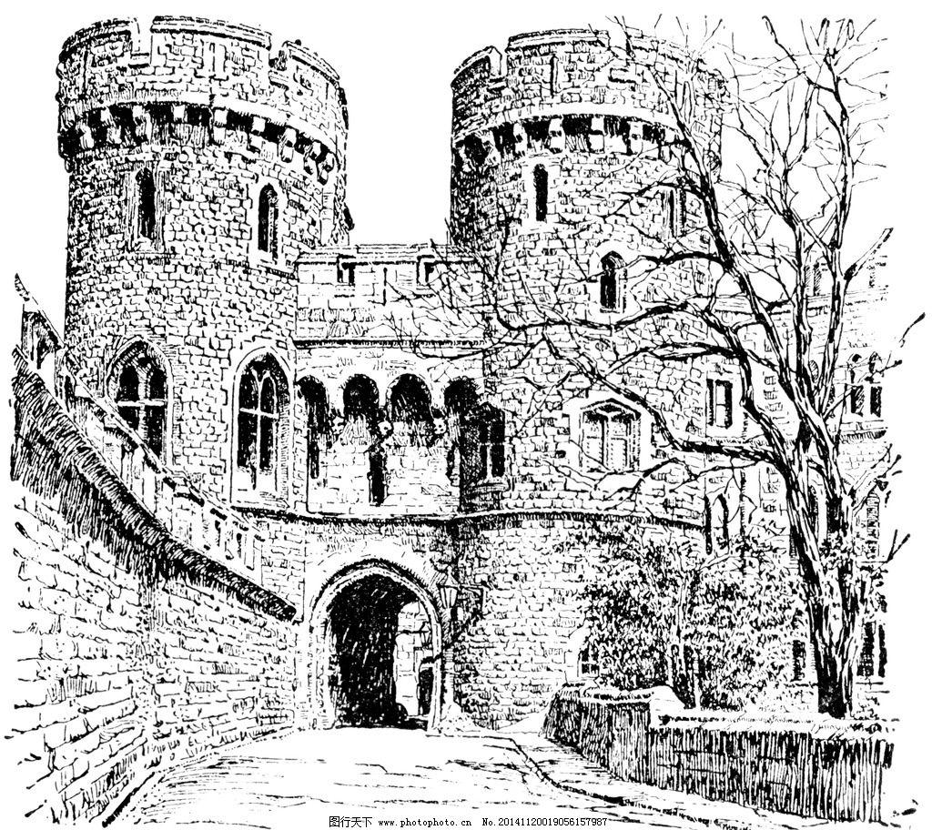 城堡 欧式建筑 建筑插画 素描 房子 树 设计 文化艺术 绘画书法 240-手绘