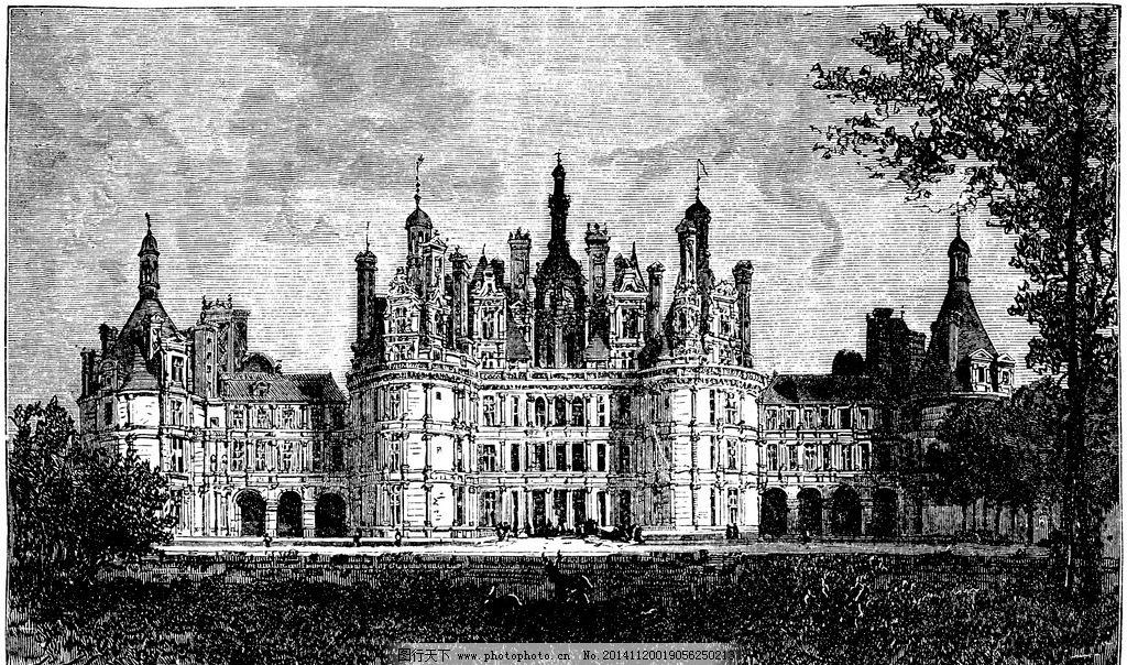 城堡 欧式建筑 建筑插画 素描 房子 房子素描 树 设计 文化艺术 绘画