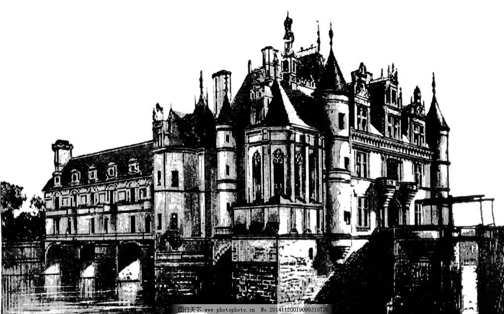 城堡 欧式建筑 建筑插画 素描 房子 设计 文化艺术 绘画书法 240dpi t
