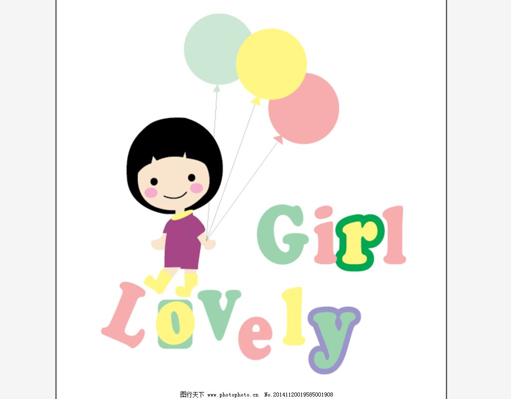 卡通 气球 可爱 小女孩
