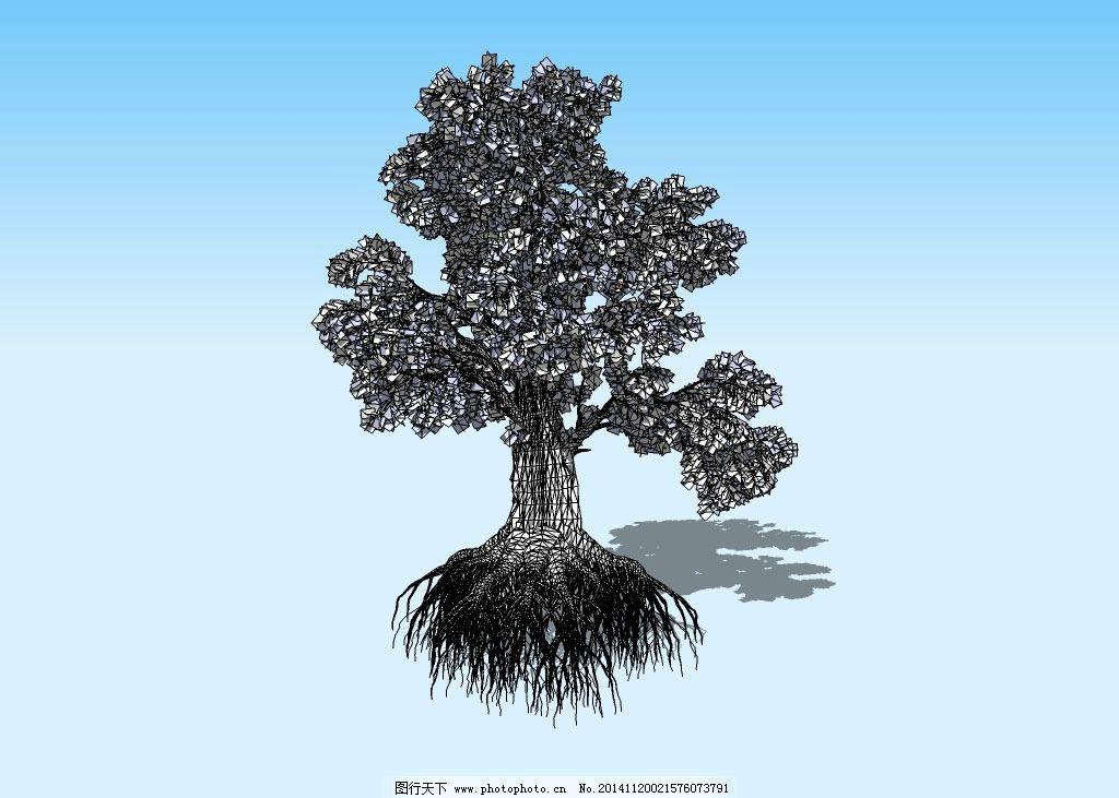 大树3d模型 树根 树蔸 树干 树枝 树叶 植物 三维 立体 造型