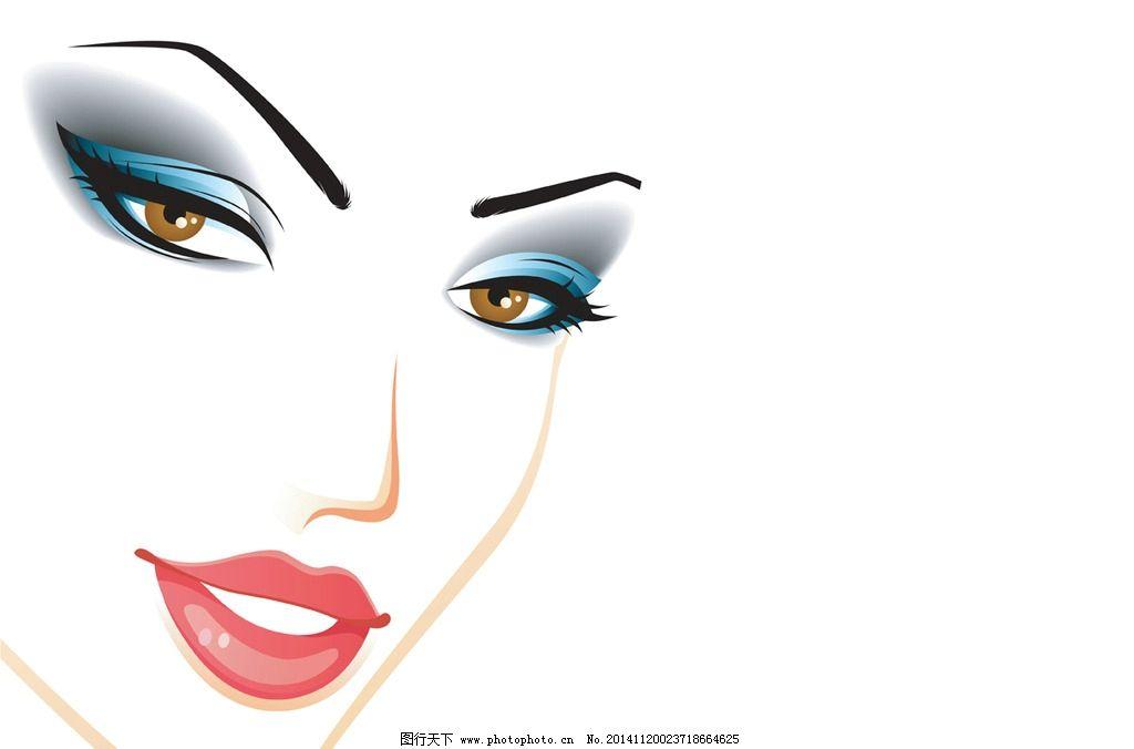 手绘少女 女孩 女人 时尚美女 女性头像 卡通女生 简笔画插图 矢量