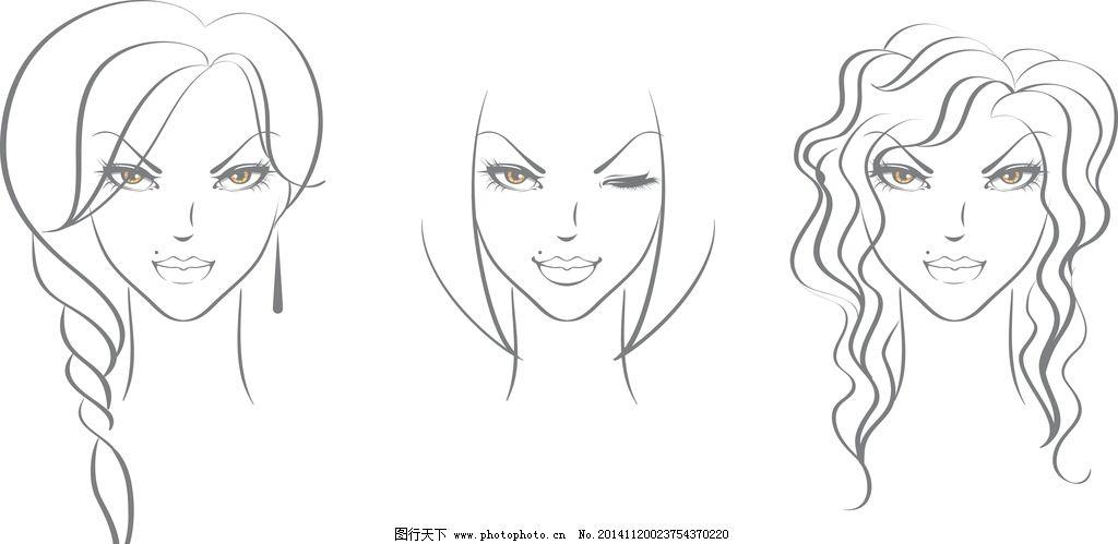 女性素描头像 卡通女生 简笔画插图 矢量 设计 eps  设计 人物图库