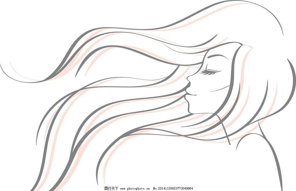 手绘少女 女孩 女人 时尚美女 长发 女性素描头像 卡通女生 简笔画