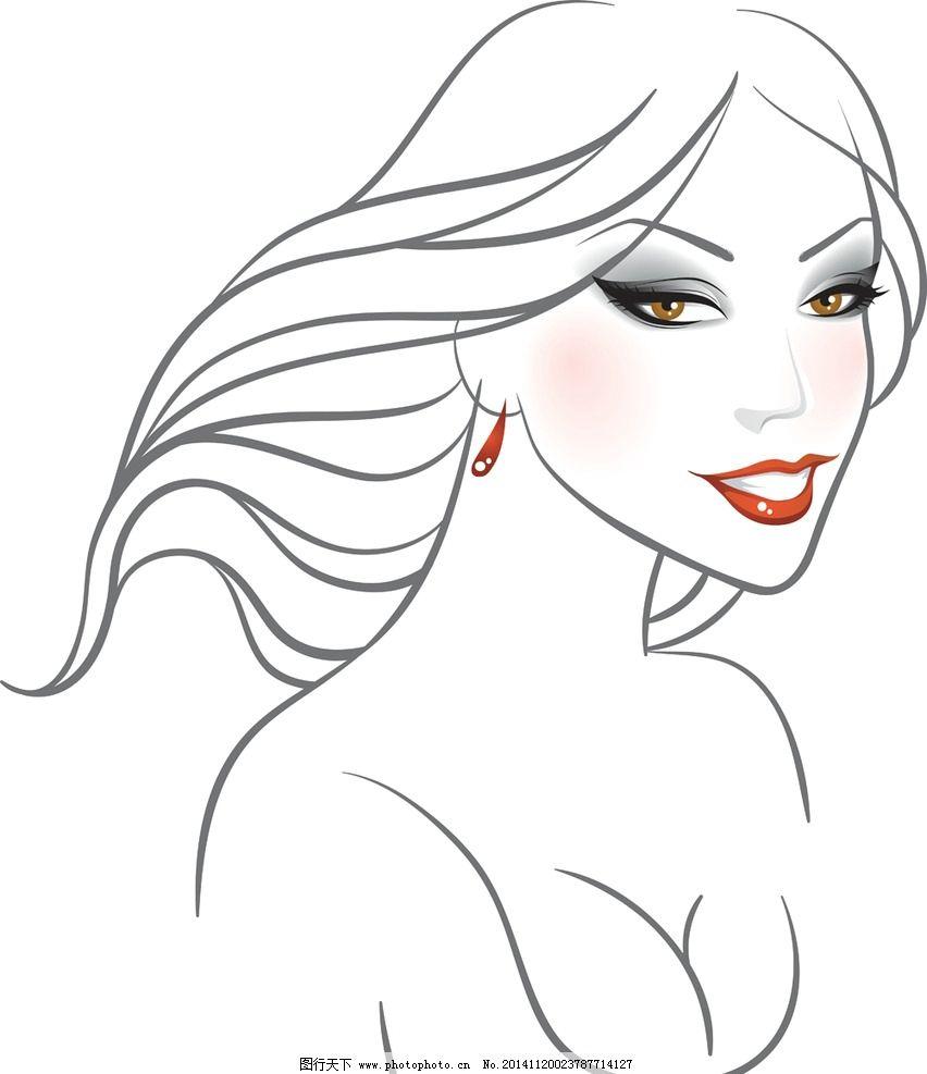 时尚美女 女性头像 卡通女生 简笔画插图 矢量 设计 eps  设计 人物