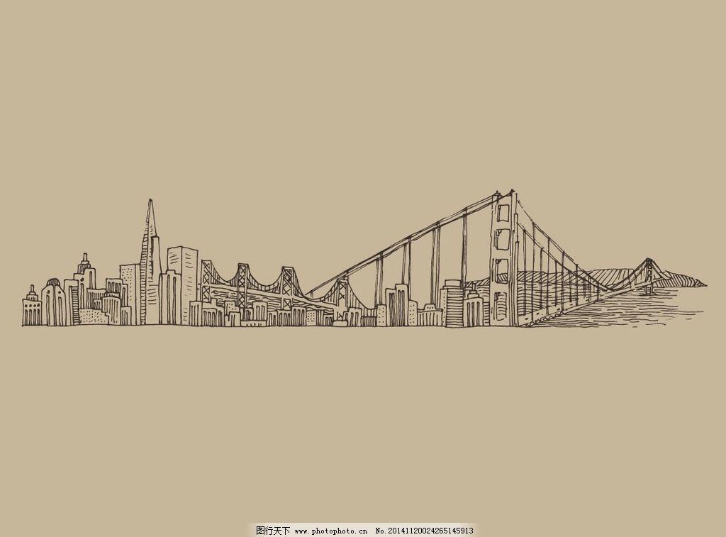 手绘城市风景 建筑 布鲁克林大桥 东方明珠 上海 城市 背景 古典城市