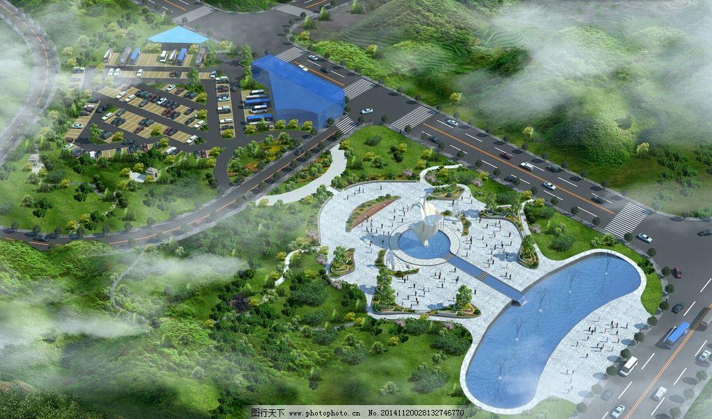金蟾鸟瞰图 生态广场 水景 花池 停车场  设计 环境设计 景观设计 96