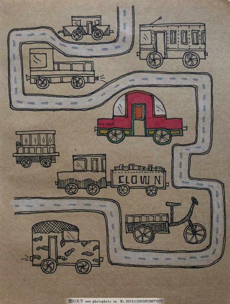 卡车 红色 动漫 手绘 小稿 动漫动画 其他