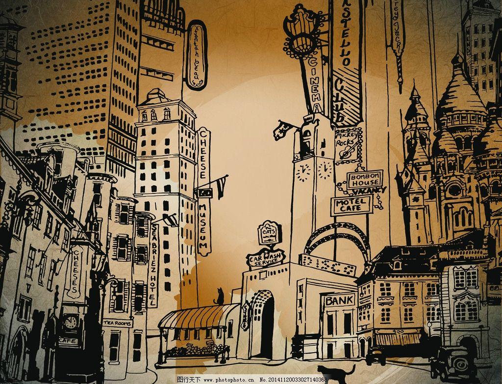 手绘复古都市背景墙图片