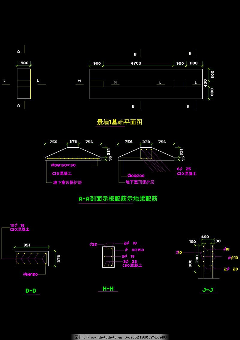 景墙平面图cad图纸免费下载 cad设计图 cad素材 建筑素材 图纸下载 墙
