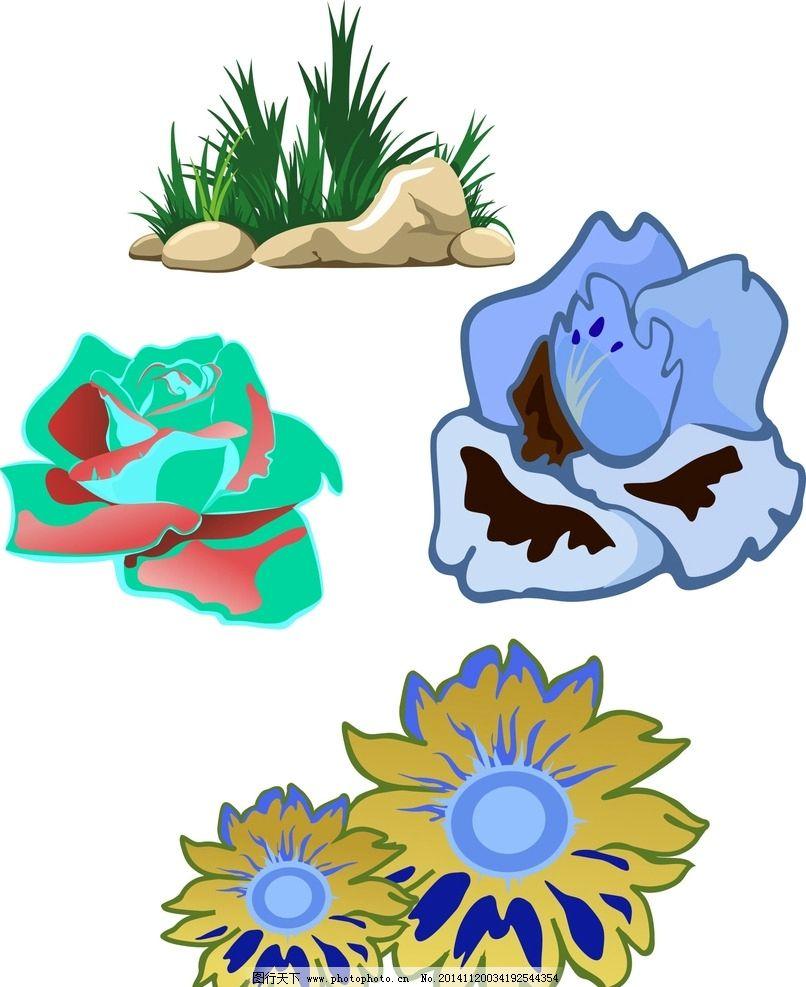 石头 绿色装饰 花朵 卡通花朵 手绘花朵 蓝玫瑰 绿玫瑰 玫瑰花素材