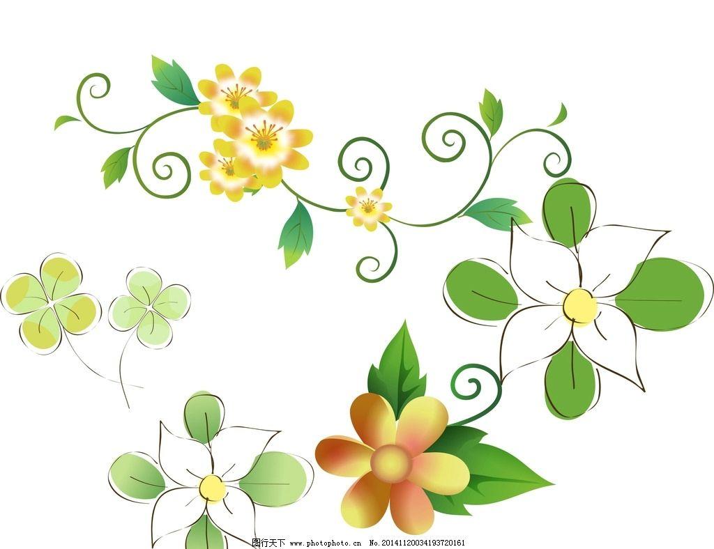清新花纹 时尚 装饰 设计 手绘花卉 花藤花边 鲜花花藤 鲜花边框 花