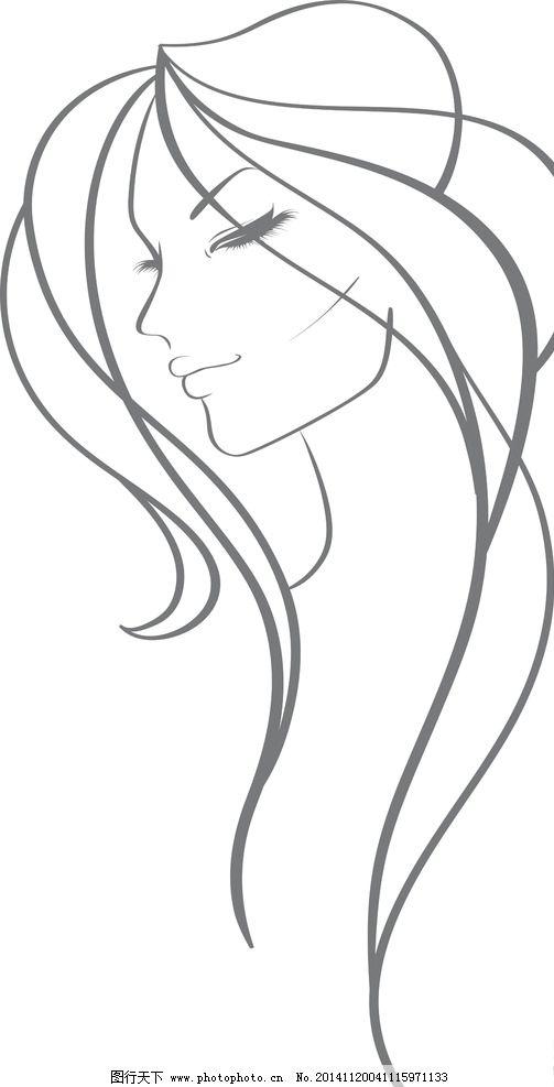 手绘少女 女孩 女人 时尚美女 女性素描头像 卡通女生 简笔画插图