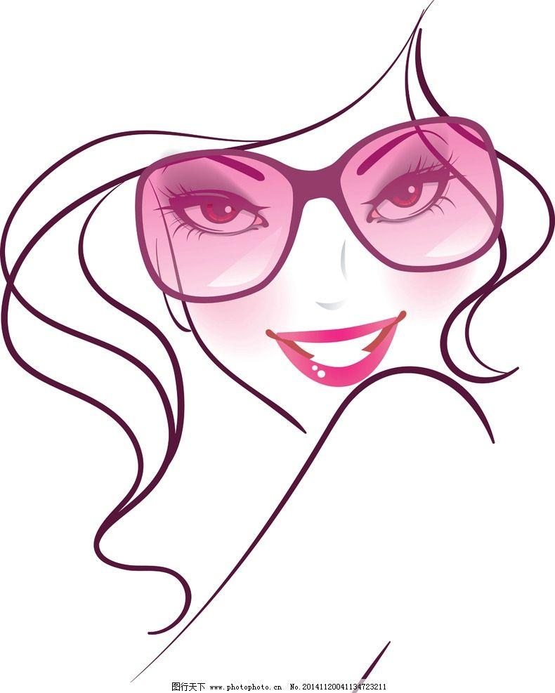 手绘少女 女孩 女人 时尚美女 女性头像 卡通女生 简笔画插图