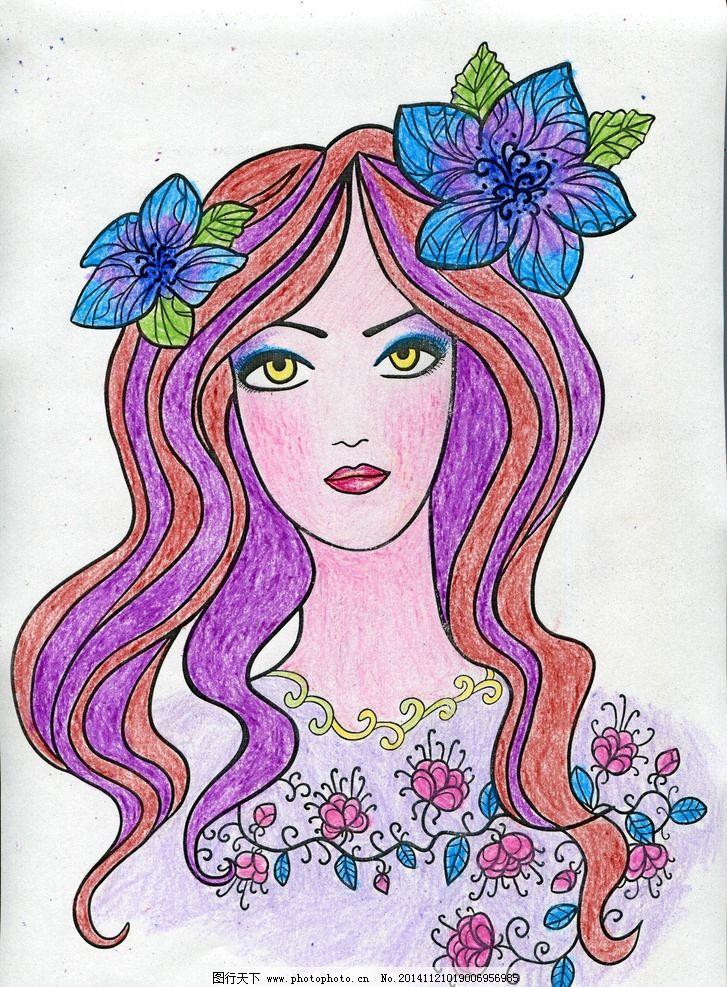 手绘女生在花海的图片
