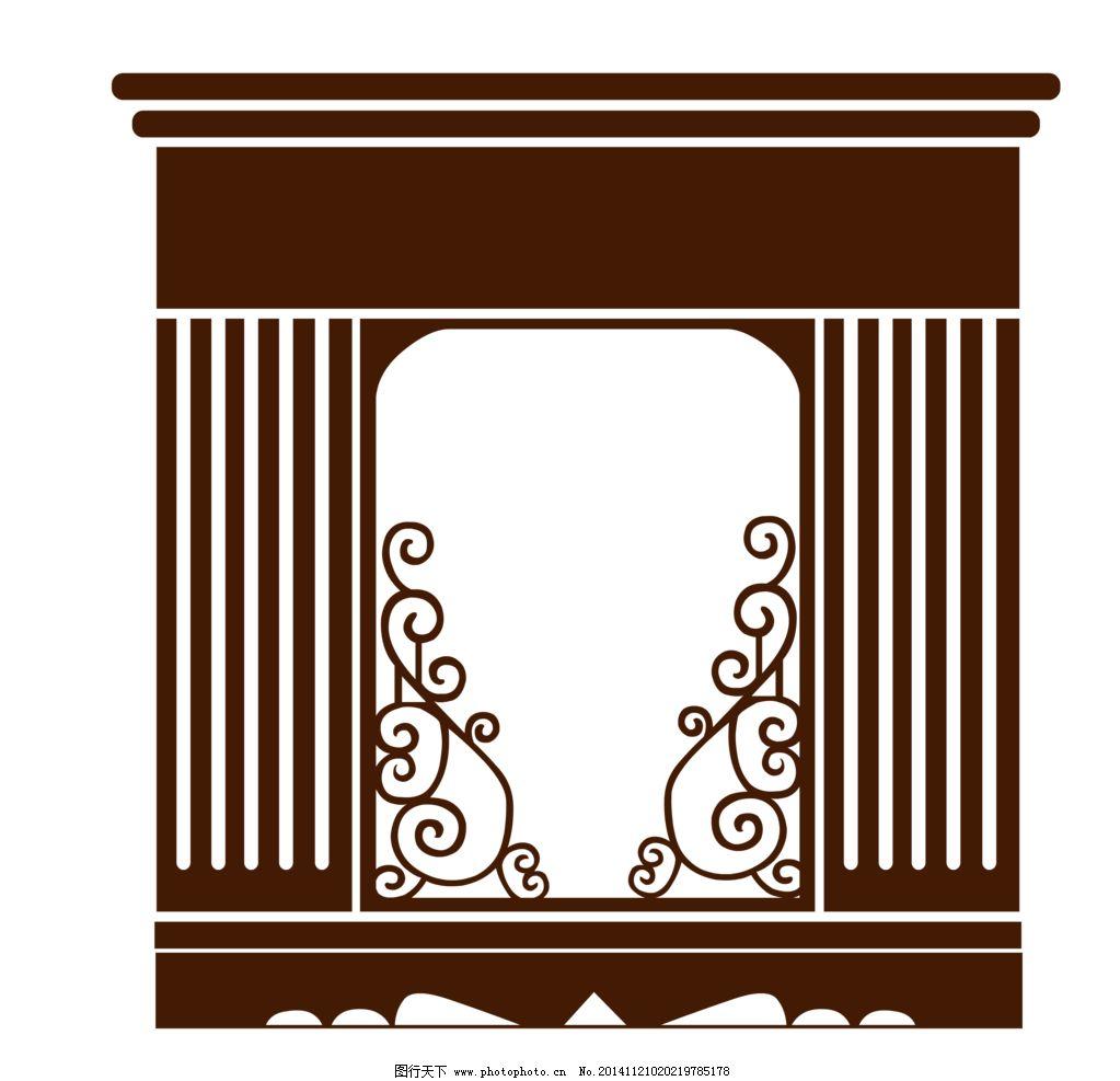 png 欧式 壁炉剪影 婚礼 花纹 设计 底纹边框 背景底纹 72dpi png