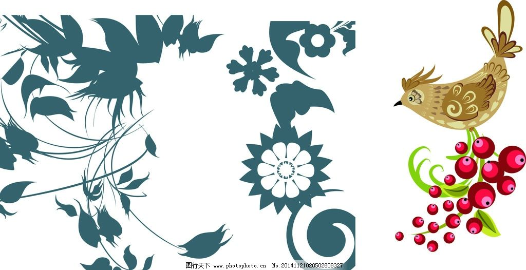 黑白花纹 小鸟 典 花边 纹样 清新花纹 底纹 欧式 各种花纹