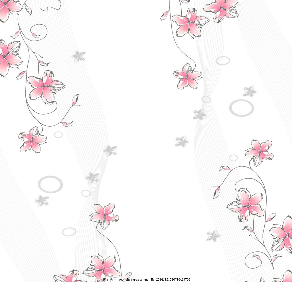 粉色花 星星花 线条 手绘 手绘画 背景花纹 圆形 花藤 植物 移门 设计