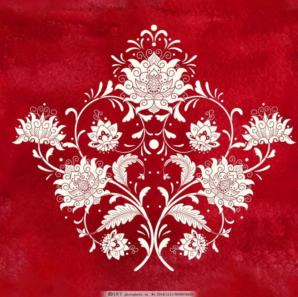 红色中国风喜庆花纹背景