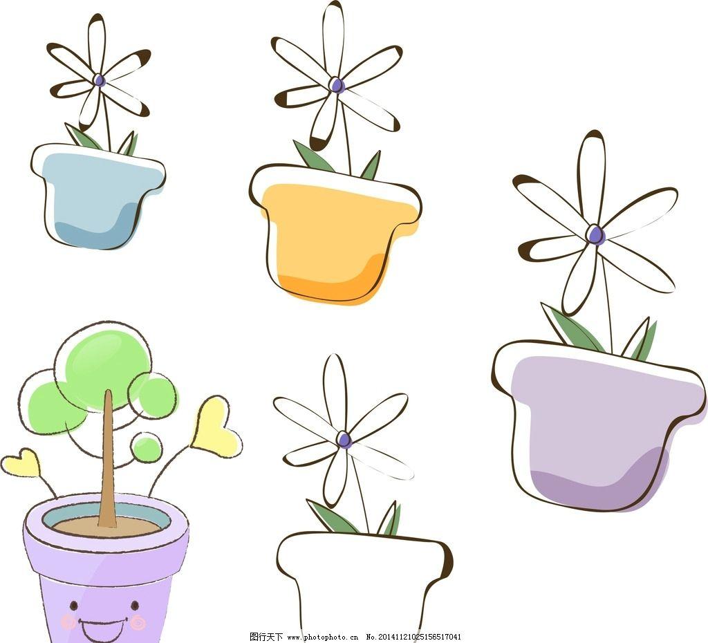 儿童手绘花盆图案