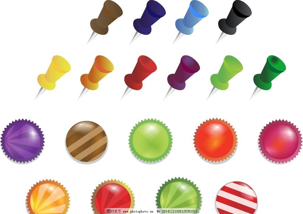 矢量素材 手绘 装饰素材 可爱卡通 圆形素材 卡通圆形素材 按钮 卡通