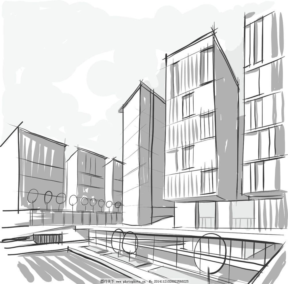 手绘建筑效果图图片_建筑设计