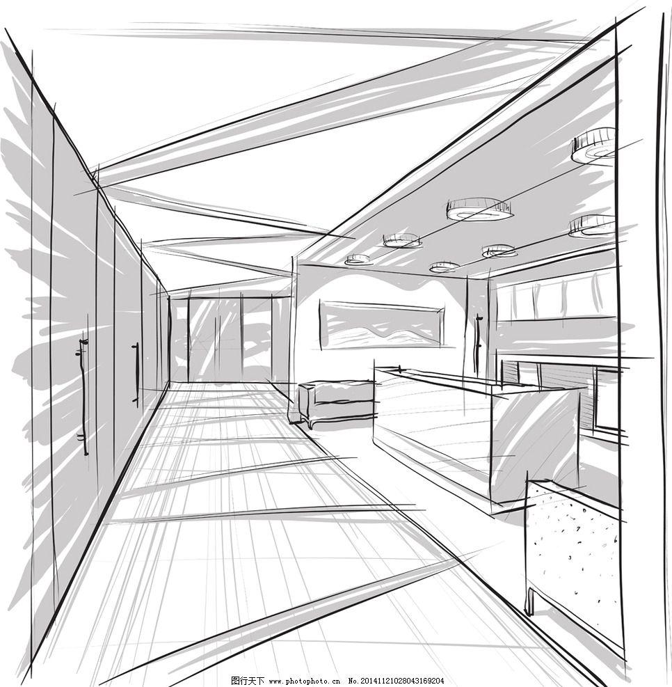 手绘建筑 素描 简笔画插图 线描 室内效果图 设计 矢量 eps 设计 环境