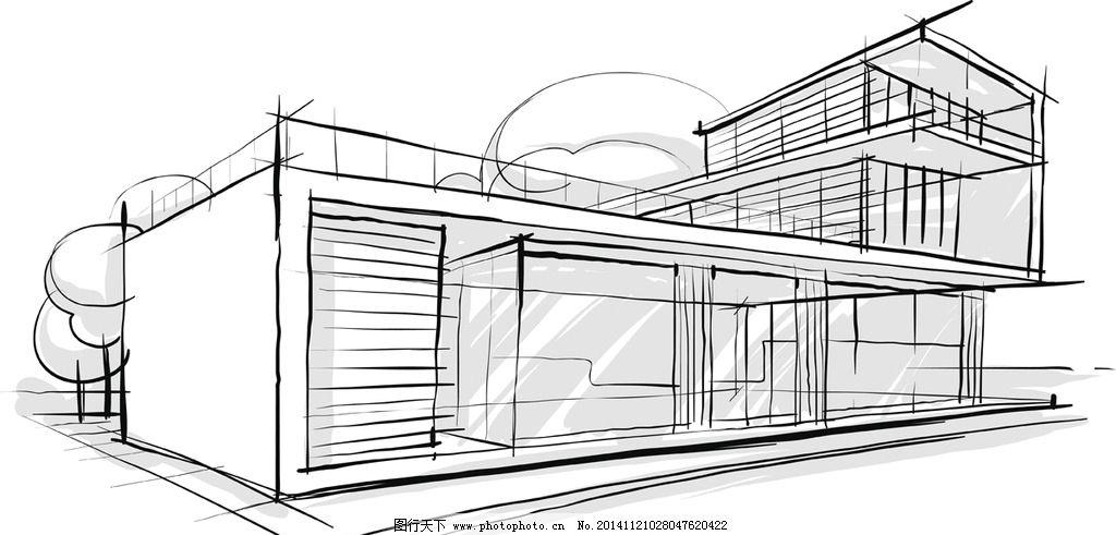 简笔画插图 线描 建筑效果图 城市建筑 设计 矢量 eps 设计 环境设计