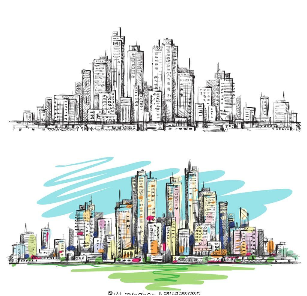 手绘建筑 素描 楼房 简笔画插图 线描 城市建筑设计 矢量 eps 设计 环