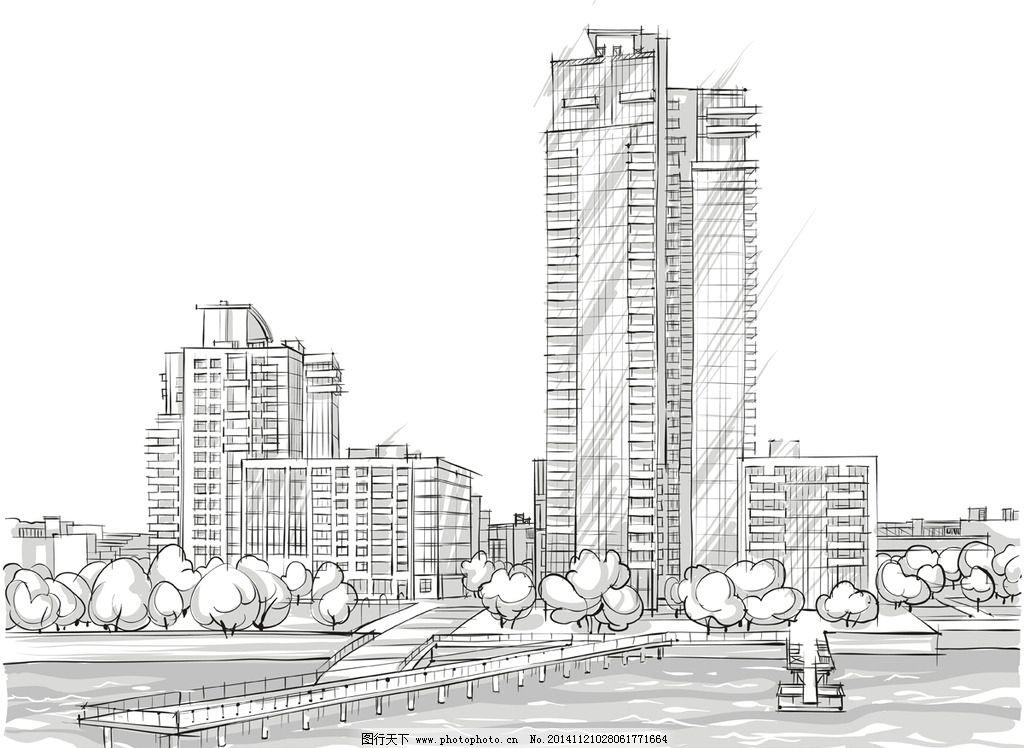 手绘建筑 素描 简笔画插图 线描 矢量建筑 城市建筑 设计 矢量 eps