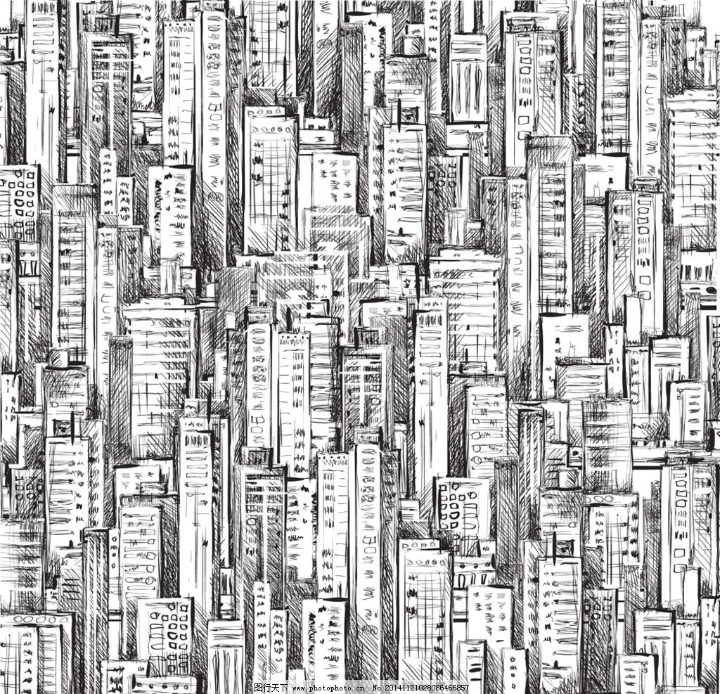 手绘建筑 素描 楼房 简笔画插图 线描 城市建筑设计 矢量