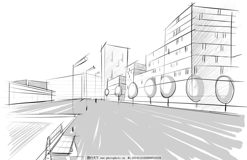 手绘建筑 素描 简笔画插图 线描 建筑效果图 城市建筑 设计 矢量 eps