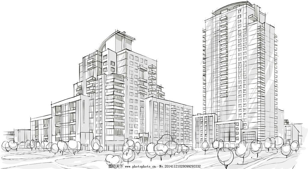 手绘建筑 素描 简笔画插图 线描 建筑效果图 城市建筑 矢量