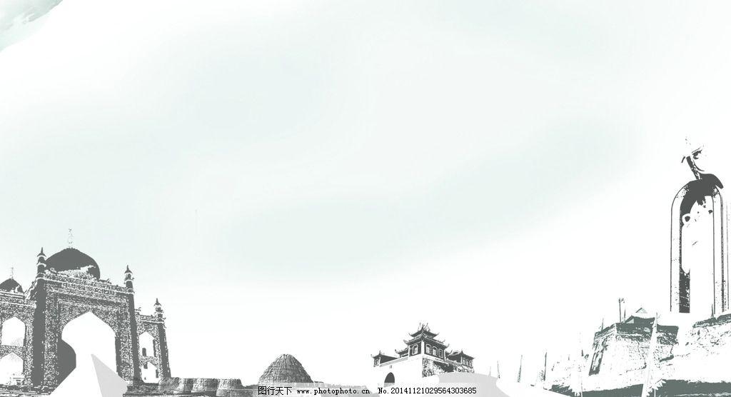 宁夏风景图分层 回乡园 西夏王陵 鼓楼 凤凰碑 沙漠
