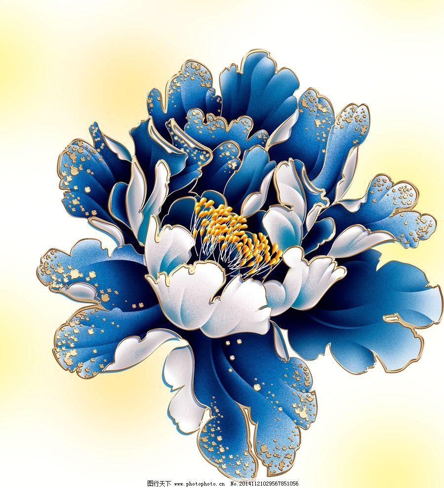 国画牡丹花 牡丹图 白牡丹 红牡丹 广告设计