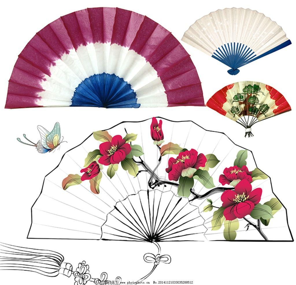 扇子素材 木骨扇 布扇 韩国扇 日本纸扇 纸画扇 中国纸扇 山水画纸扇