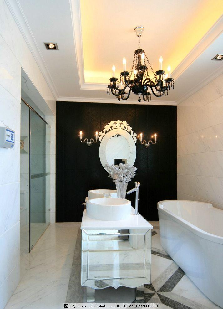 欧式卫浴 浴缸 中岛洗手台 欧式装饰镜 吊灯 摄影 建筑园林 室内摄影
