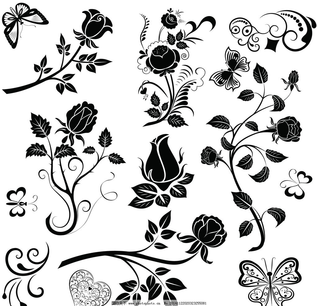植物花纹 花边 边框 手绘花卉 花纹分割线 装饰花纹 矢量