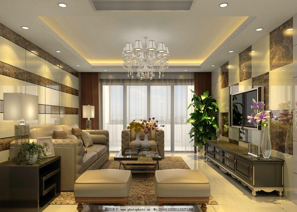 现代客厅 现代风格 室内设计 石材 室内模型