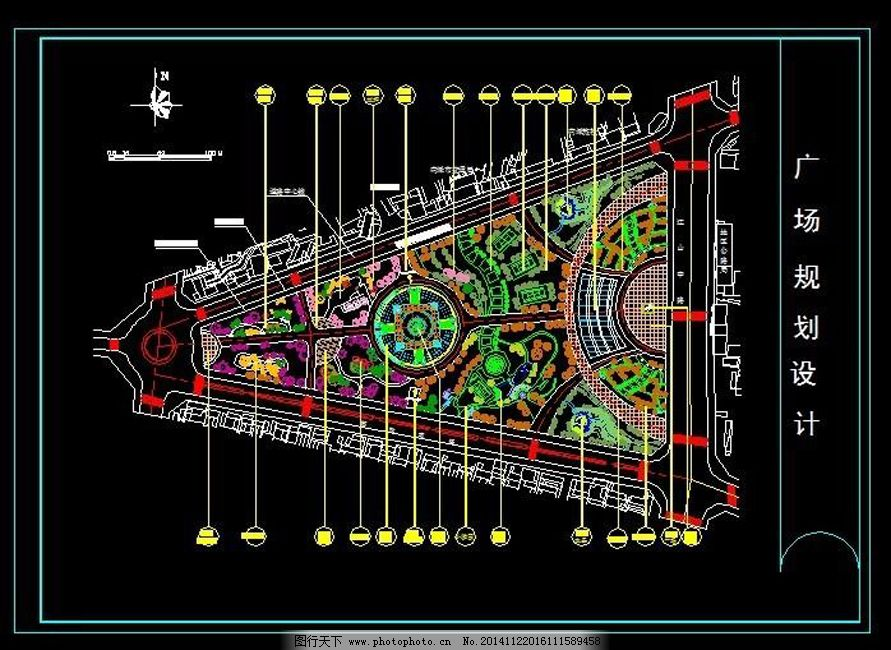 梯形景观绿化cad图纸免费下载 cad平面图 布置图 工程图 绿化设计