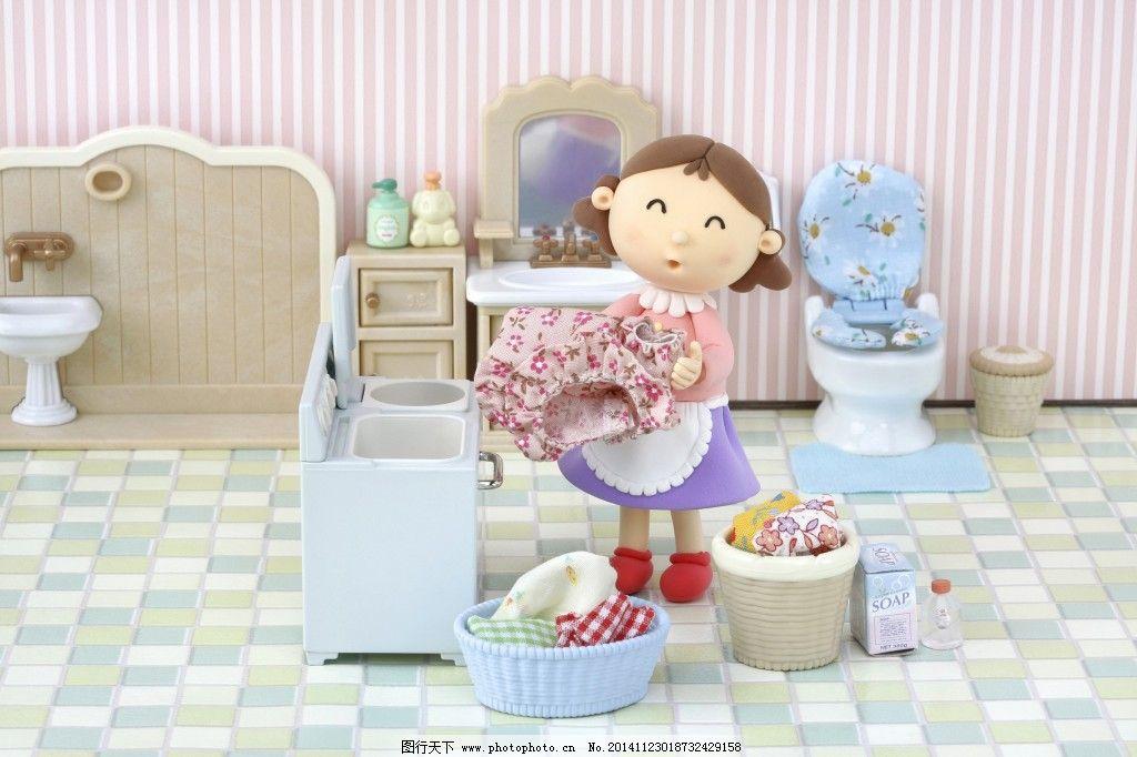 妈妈洗衣啰_可爱卡通_动漫卡通_图行天下图库