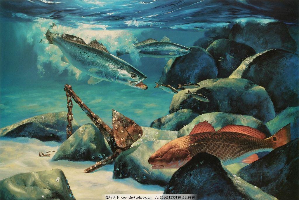 海底 鲨鱼 壁画 风景 装饰画 海水 设计 文化艺术 绘画书法 72dpi jpg