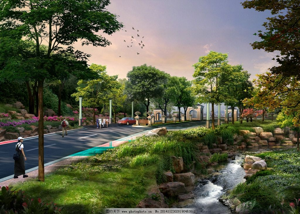 路边休闲景观设计图片,人物 马路 汽车 溪流 草地-图