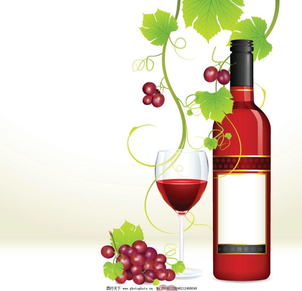 绿叶 葡萄酒 红葡萄 红酒 高脚杯 手绘 水果 矢量 生物世界